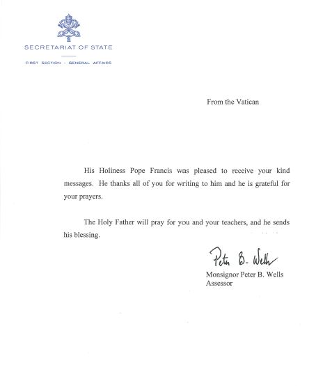 our reply from pope francis letter