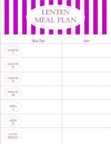 Lenten Menu Plan