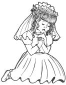 First Communicant praying - Tina