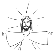 Jesus with arms out - Ann Tristani
